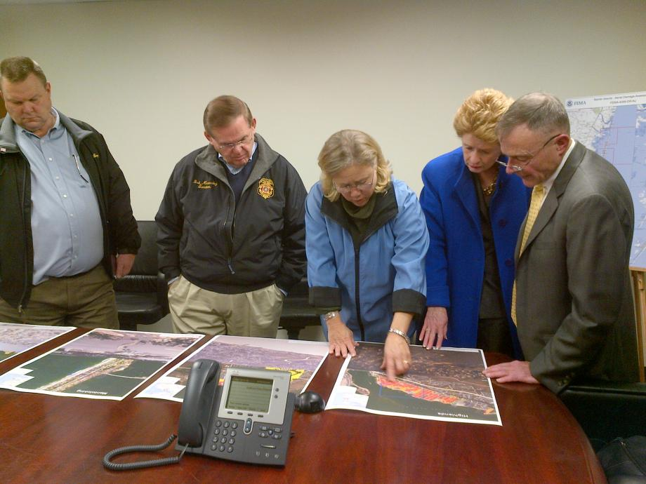 From L to R: Senator Tester, Senator Menendez, Senator Landrieu, Senator Stabenow, Bill Vogel (FEMA Dep. Fed. Coordinating Officer for Recovery)  FEMA Briefing -- Senate CODEL. December 10, 2012