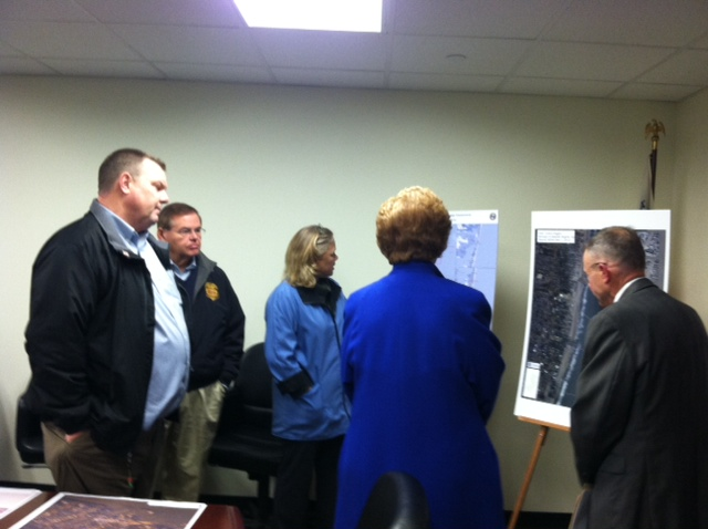 From L to R: Senator Tester, Senator Menendez, Senator Stabenow, Senator Landrieu.. FEMA Briefing -- Senate CODEL. December 10, 2012