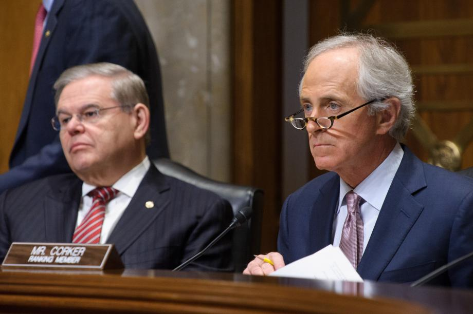 Chairman Menendez and Ranking Member Corker at hearing.