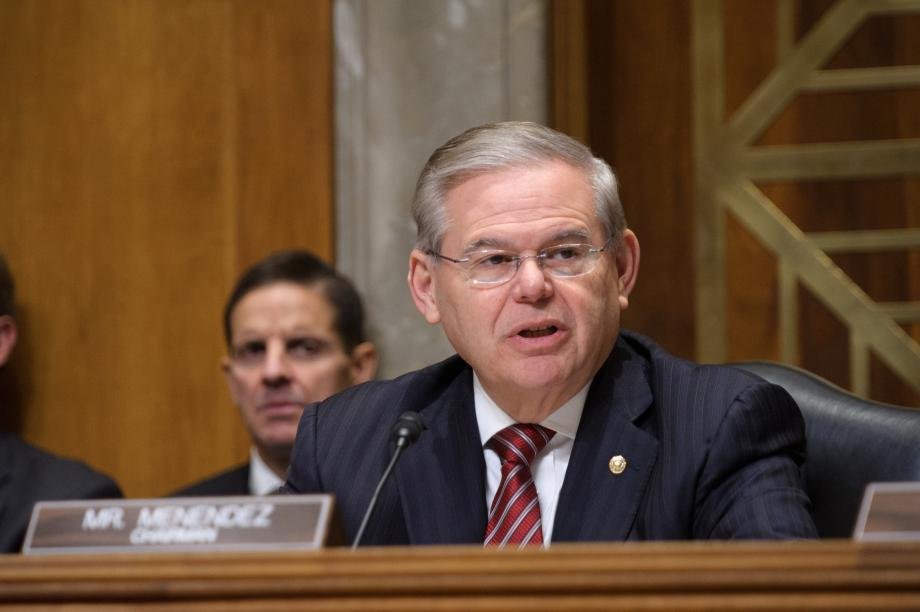 Chairman Menendez speaks at hearing.