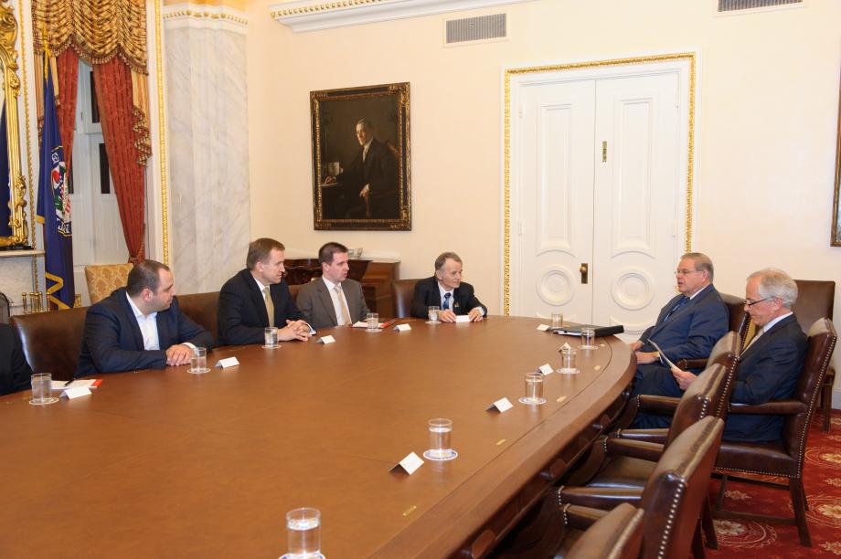 Chairman Menendez and Ranking Member Corker with Ukraine Opposition delegation.