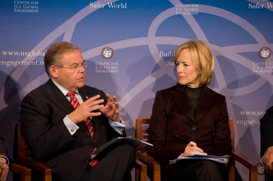 On panel discussing U.S. foreign policy with Colin Powell, Judy Woodruff,  Jim Leach and Wendy Sherman