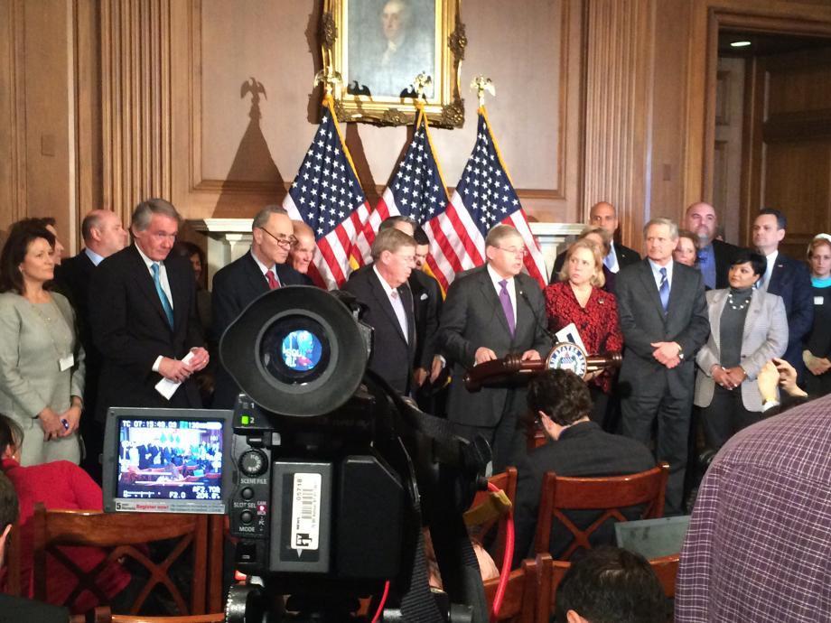 Senator Bob Menendez speaks about the Homeowner's Flood Insurance Affordability Act