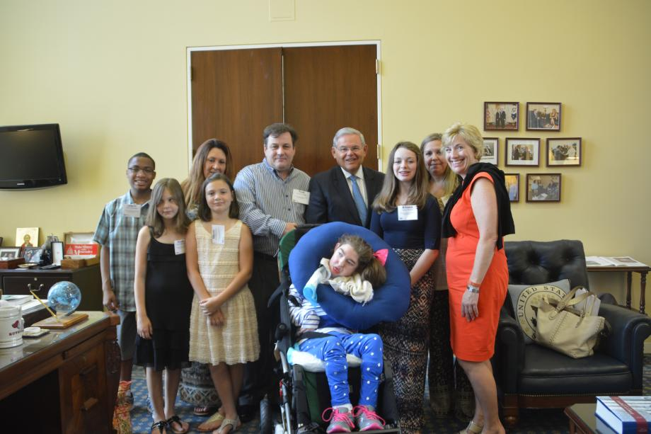U.S. Senator Bob Menendez meets with two New Jersey families to hear their pediatric healthcare stories and stress his support for robust federal funding for children's healthcare.