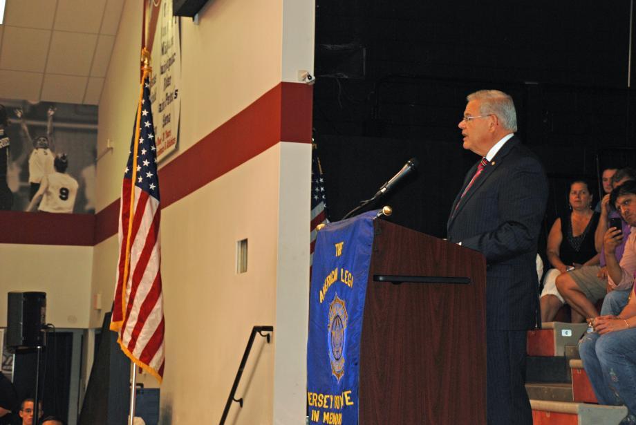 U.S. Senator Bob Menendez, a Boys State alumn, speaks at the American Legion Jersey Boys State graduation.