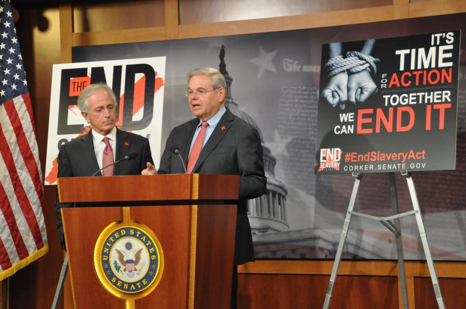 Senators Bob Menendez and Bob Corker, the leaders of the Senate Foreign Relations Committee, introduce the End Modern Slavery Initiative Act.