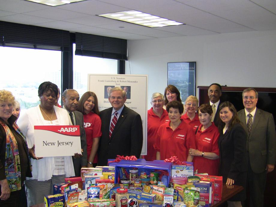 Menendez Supports Food AARP Drive (Newark, NJ)
