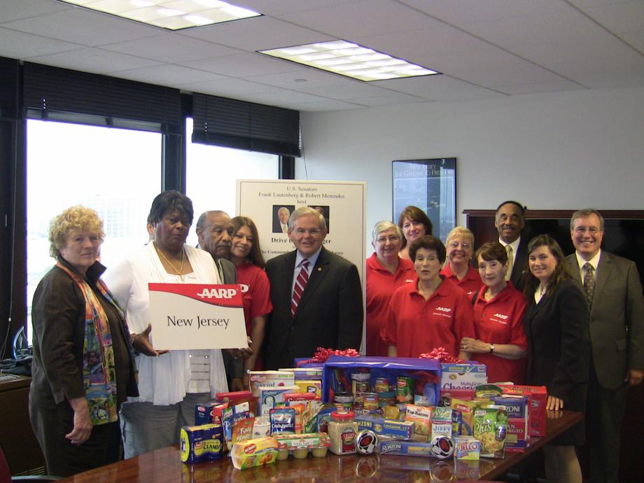 Menendez Supports Food AARP Drive (Newark, NJ)